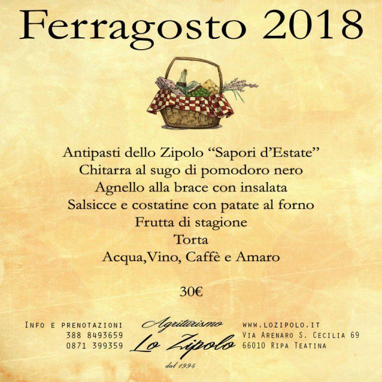 Menu di Ferragosto del ristorante agrituristico Lo Zipolo