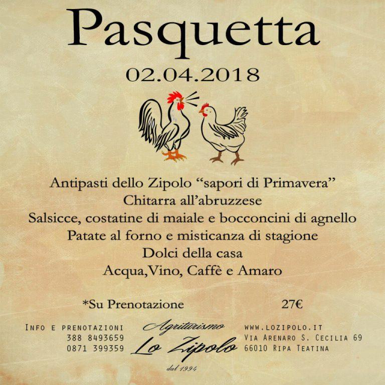 Menu di Pasquetta del ristorante agrituristico Lo Zipolo