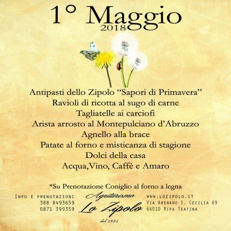 Menu del Primo Maggio del ristorante agrituristico Lo Zipolo
